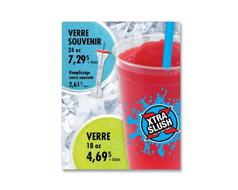 100% Détail - Sobeys : Menu pour kiosque XtraSlush à La Ronde