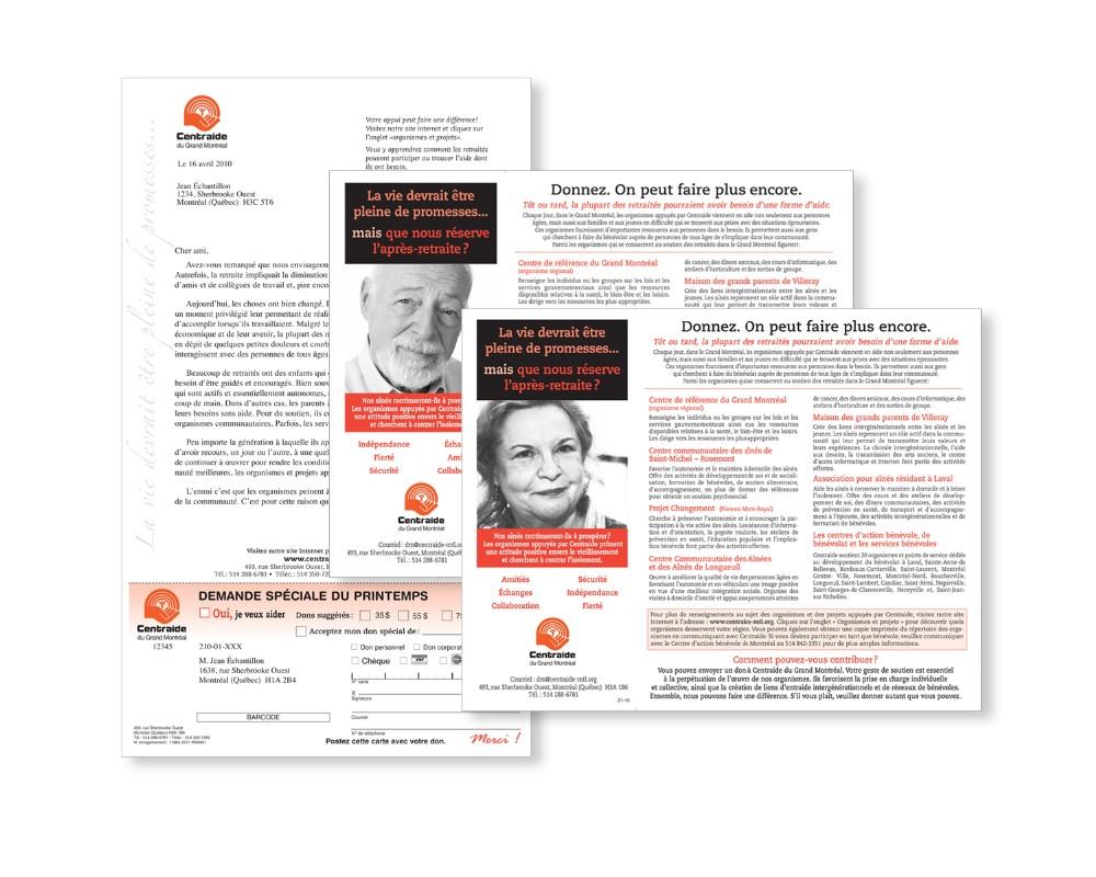Centraide : Publipostage – Campagne après-retraite