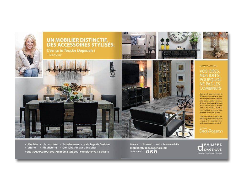 Mobilier Philippe Dagenais : Annonce magazine – 2 pages