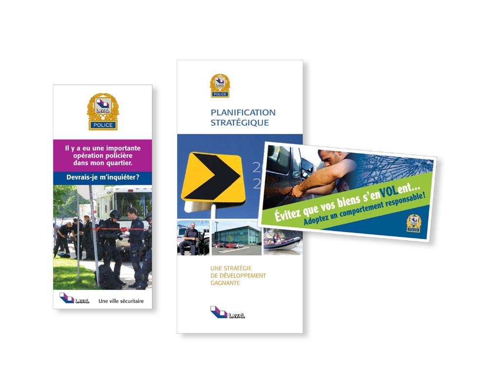 Ville de Laval : Service de protection des citoyens – brochure interne 16 pages, dépliant, affiche
