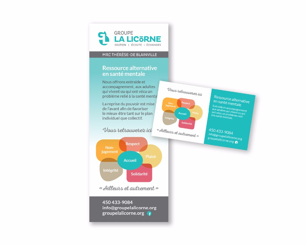 Groupe La Licorne : Logo, papeterie, bannière, carton publicitaire