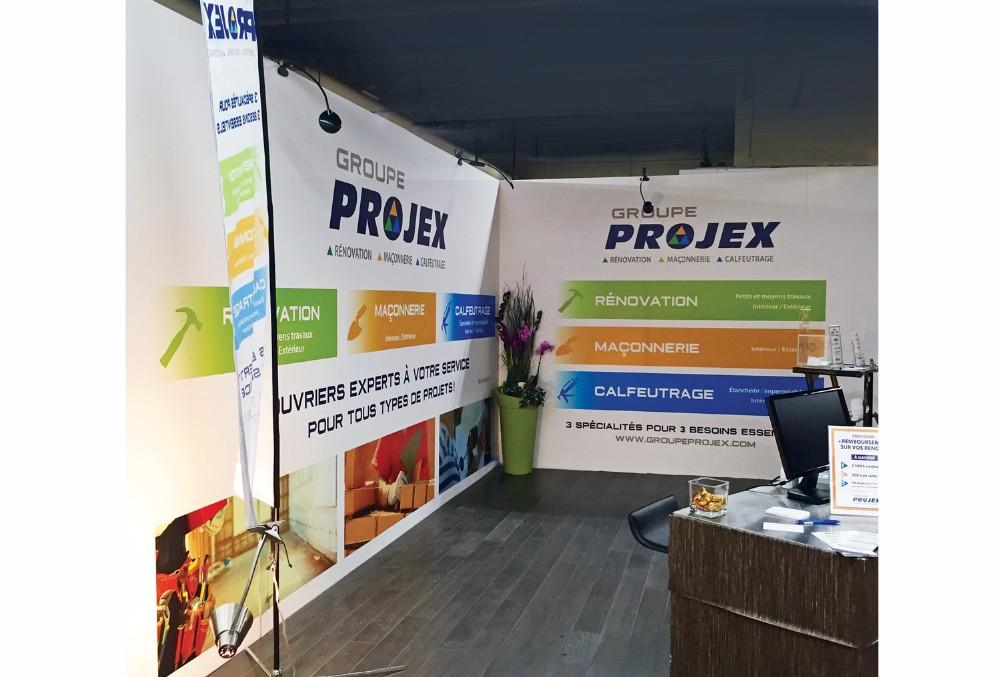 Groupe Projex : logo, carton pub, affiche, drapeau, kiosque, t-shirt