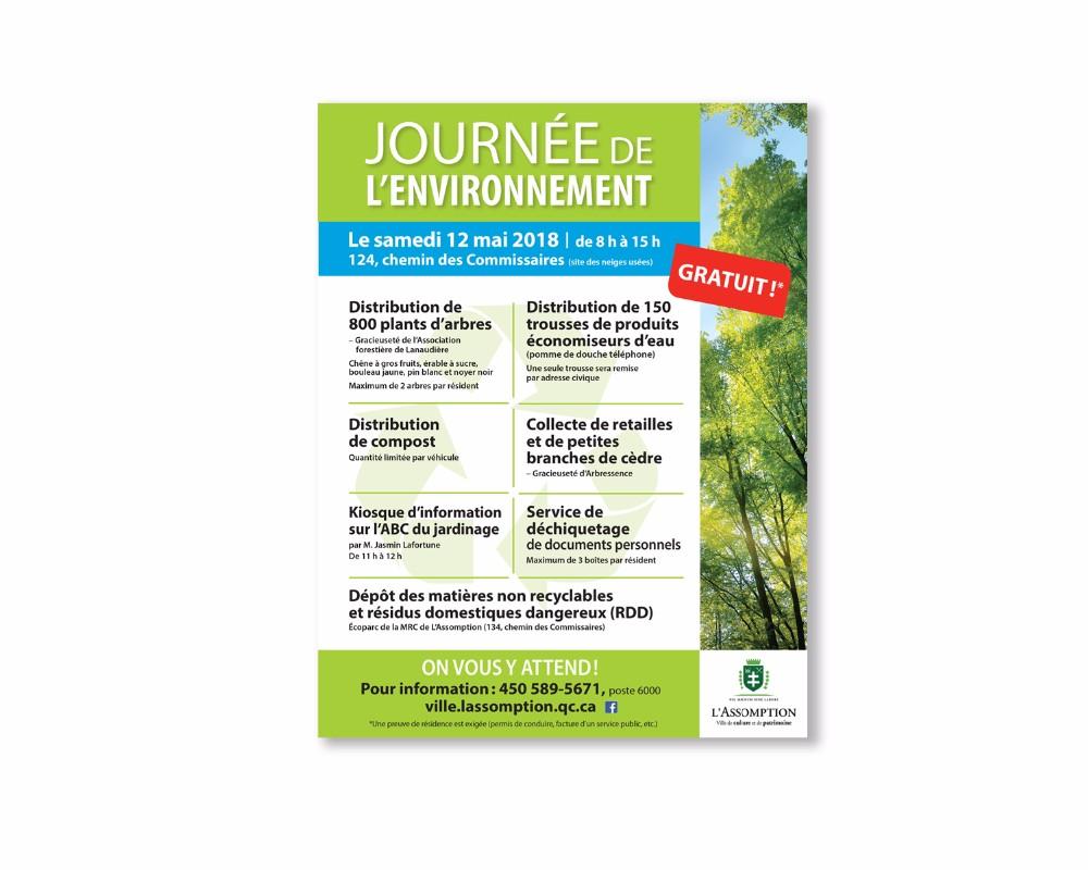Affiche décrivant les services gratuits offerts par la ville lors de la journée de l'environnement.